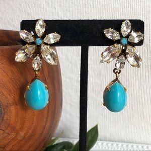 Vintage Schreiner Rhinestone Flower Earrings